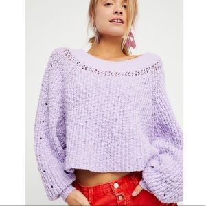 Free People Boat Neck Cropped Lavender Sweater